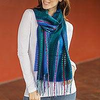 Featured review for Baby alpaca blend scarf, Altiplano Sky