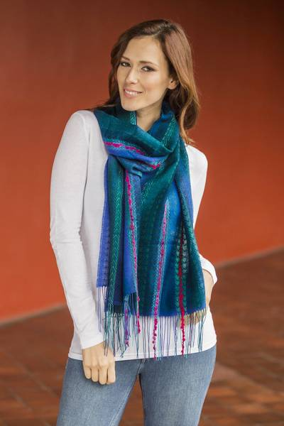 Baby alpaca blend scarf, 'Altiplano Sky' - Woven Baby Alpaca Blend Scarf from Peru