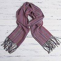 Baby alpaca blend scarf, 'Puno Pastel' - Pink/Multicolored Baby Alpaca Blend Scarf from Peru