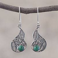 Chrysocolla filigree dangle earrings, 'Mystical Andes' - Chrysocolla and Silver Filigree Dangle Earrings from Peru