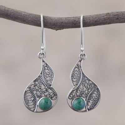 Chrysocolla filigree dangle earrings, Mystical Andes