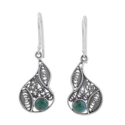 Chrysocolla and Silver Filigree Dangle Earrings from Peru