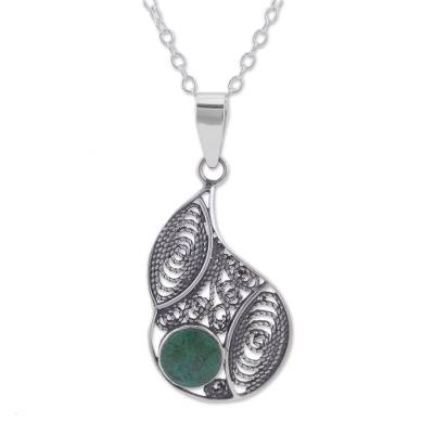 Chrysocolla and Silver Filigree Pendant Necklace from Peru