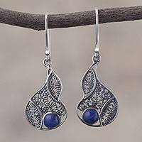 Sodalite filigree dangle earrings, 'Mystical Andes' - Sodalite and Silver Filigree Dangle Earrings from Peru