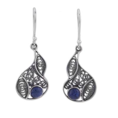 Sodalite and Silver Filigree Dangle Earrings from Peru