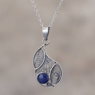 Sodalite filigree pendant necklace, 'Mystical Andes' - Sodalite and Silver Filigree Pendant Necklace from Peru