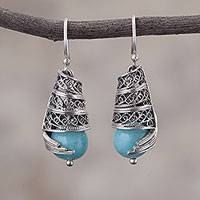 Amazonite filigree dangle earrings, 'Eternal Swirls' - Amazonite and Silver Filigree Dangle Earrings from Peru