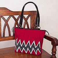 Alpaca blend tote, 'Roads of the Inca' - Zigzag Alpaca Blend Tote in Claret from Peru