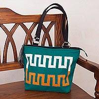 Alpaca blend tote, 'Inca Teal' - Wave Motif Alpaca Blend Tote in Teal from Peru