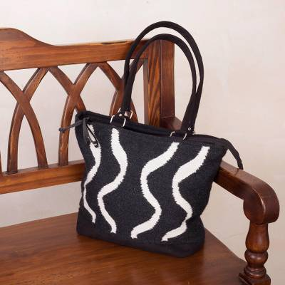 Alpaca blend tote, 'Wavy Zebra' - Wave Motif Alpaca Blend Tote in Black and White from Peru
