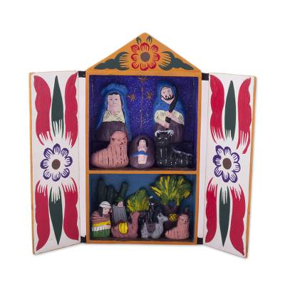 Wood retablo, 'Llamas on Christmas Eve' - Ceramic Folk Art Religious Retablo Diorama Handmade in Peru