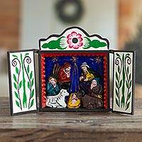 Wood retablo, 'Christmas by Starlight'