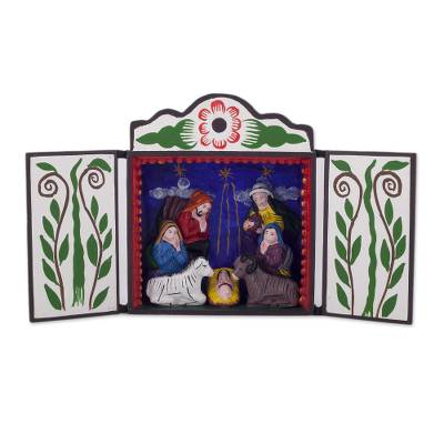 Wood retablo, 'Christmas by Starlight' - Handcrafted Peruvian Folk Art Christmas Retablo Diorama