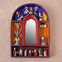 Retablo mirror, 'Reflections of Christmas' - Religious Folk Art Retablo Diorama Framing a Wall Mirror