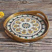 Reverse painted glass tray, 'Blue Andean Mandala' - Andean Sunflower Theme Reverse Painted Glass Tray