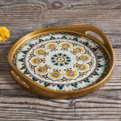 Reverse-painted glass tray, 'Blue Andean Mandala' - Andean Sunflower Theme Reverse-Painted Glass Tray