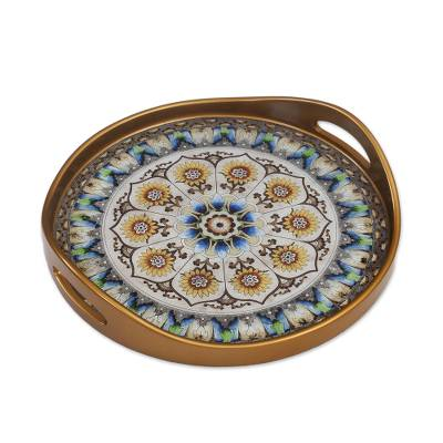 Andean Sunflower Theme Reverse-Painted Glass Tray