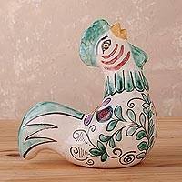 Ceramic statuette, 'Singing Rooster' - Hand-Painted Floral Ceramic Rooster Statuette from Peru