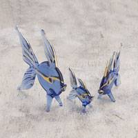 Blown glass figurines, 'Angelfish Trio in Blue' (set of 3) - Three Gold Leaf Blown Glass Fish Figurines in Blue from Peru