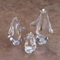 Blown glass figurines, 'Emperor Penguin Trio' (set of 3) - Three Gold Leaf Blown Glass Penguin Figurines from Peru