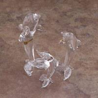 Blown glass figurines, 'Ethereal Dolphin Trio' (set of 3) - Three Gold Leaf Hand-Blown Glass Dolphin Figurines from Peru
