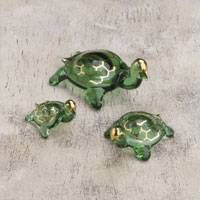 Blown glass gold leaf figurines, 'Turtle Trio' (set of 3) - Three Gold Leaf Hand-Blown Glass Turtle Figurines from Peru