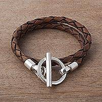 Leather braided wrap bracelet, 'Braided Burnt Sienna' - Braided Brown Leather Wrap Bracelet with Sterling Silver
