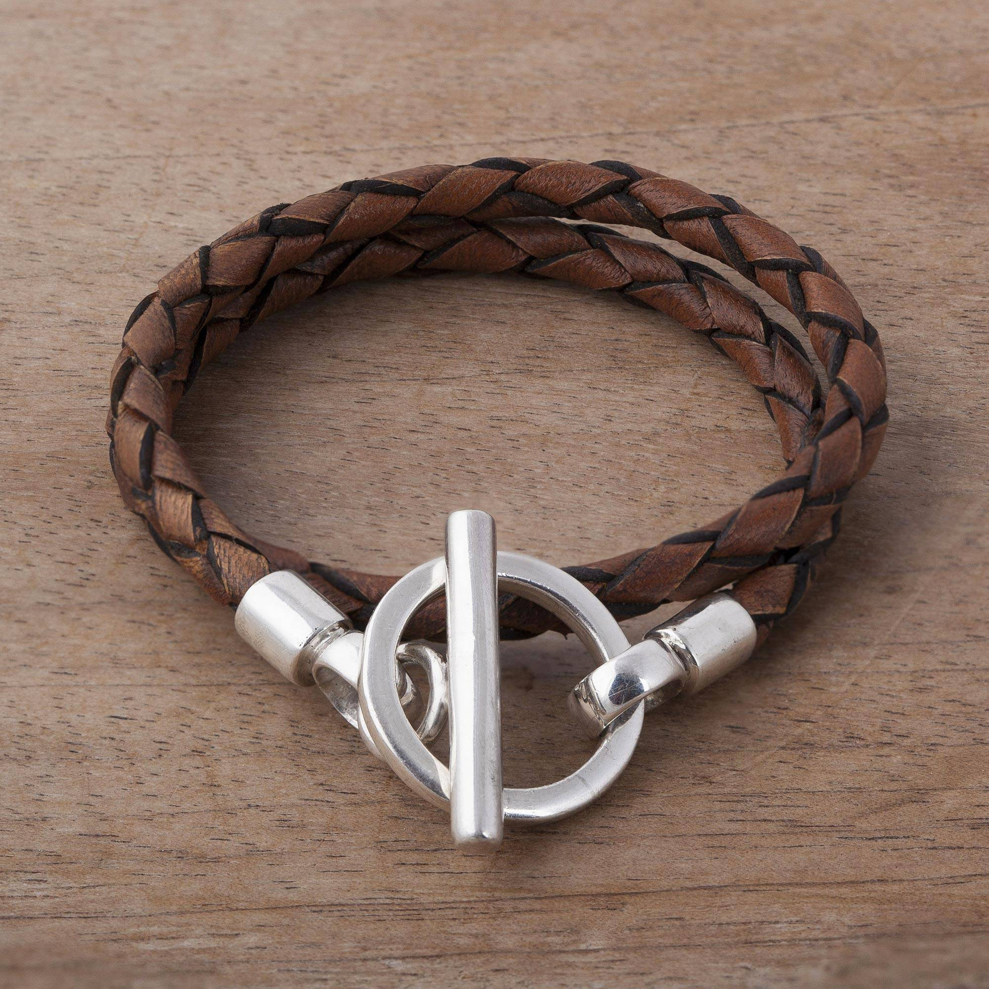Braided Brown Leather Wrap Bracelet With Sterling Silver Burnt Sienna