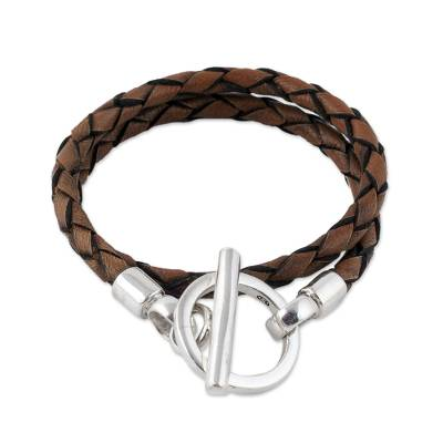 Braided Brown Leather Wrap Bracelet with Sterling Silver