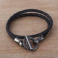 Leather braided wrap bracelet, 'Braided Jet Black' - Braided Black Leather and Sterling Silver Wrap Bracelet