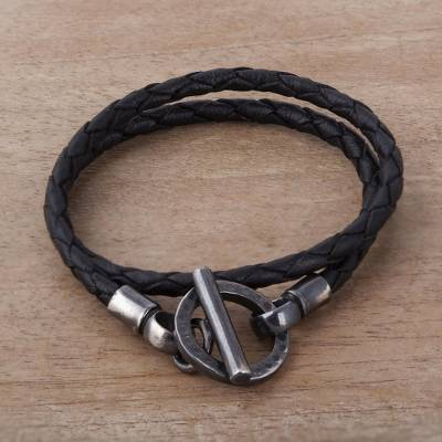 Braided Black Leather And Sterling Silver Wrap Bracelet Jet
