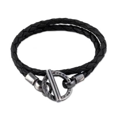 Braided Black Leather and Sterling Silver Wrap Bracelet