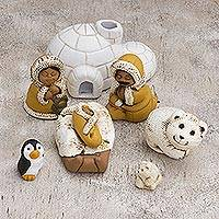 Ceramic nativity scene, 'Inuit Family' (8 pieces) - Inuit-Themed Ceramic Nativity Scene from Peru (8 Pcs)