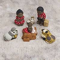 Ceramic nativity scene, 'Polka Dot Family' (7 pieces) - Hand-Painted Ceramic Nativity Scene from Peru (7 Pcs)