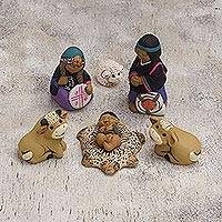 Ceramic nativity scene, 'Mapuche Family' (7 pieces) - Mapuche-Themed Ceramic Nativity Scene from Peru (7 Pcs)
