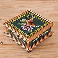 Reverse-painted glass decorative box, 'Butterfly World in Green' - Butterfly Reverse-Painted Glass Decorative Box in Green