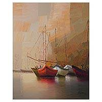 'Dawn' - Signed Original Impressionist Painting of Sailboats at Dawn