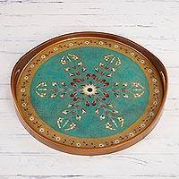 Reverse painted glass tray, 'Sweet Branch' - Reverse Painted Glass Floral Tray in Turquoise