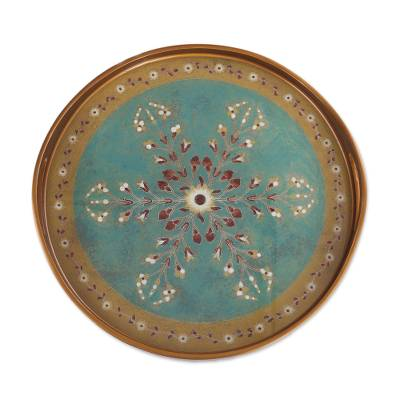Reverse Painted Glass Floral Tray in Turquoise