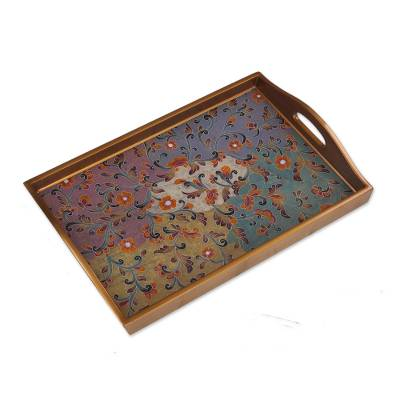 Colorful Reverse Painted Glass Decorative Tray from Peru