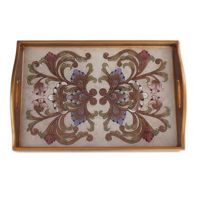 Handmade Reverse Painted Glass Tray from Peru