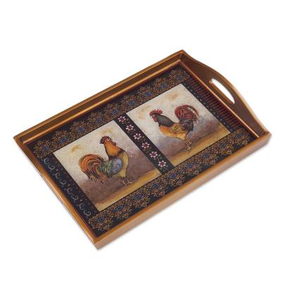 Rooster-Themed Reverse Painted Glass Tray