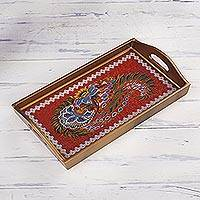 Reverse painted glass tray, 'Garden Arrangement' - Red Floral Reverse Painted Glass Tray from Peru