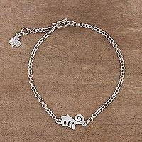 Silver anklet, 'Nazca Style' - Monkey-Themed 950 Silver Pendant Anklet from Peru