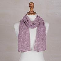 100% baby alpaca scarf, 'Wavy Texture in Petal Pink' - 100% Baby Alpaca Wrap Scarf in Petal Pink from Peru