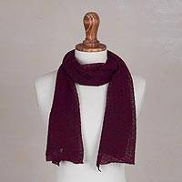 100% baby alpaca scarf, 'Peruvian Textures in Wine' - Textured 100% Baby Alpaca Wrap Scarf in Wine from Peru