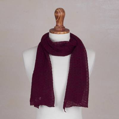 100% baby alpaca scarf, 'Wavy Texture in Wine' - Textured 100% Baby Alpaca Wrap Scarf in Wine from Peru