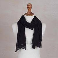 100% baby alpaca scarf, 'Wavy Texture in Black' - Textured 100% Baby Alpaca Wrap Scarf in Black from Peru