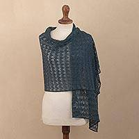 Featured review for 100% baby alpaca shawl, Dreamy Texture in Teal