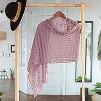 100% baby alpaca shawl, 'Dreamy Texture in Blush' - Textured 100% Baby Alpaca Shawl in Blush from Peru